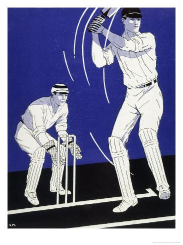 Batsman Plays a Stroke in Front of the Wicketkeeper Giclee Print