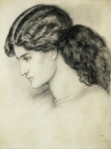 Portrait Sketch of a Ladies Head by Dante Gabriel Rossetti Giclee Print