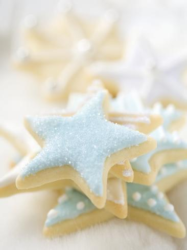 Star Biscuits with Blue and White Icing Photographic Print
