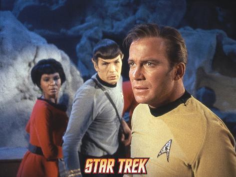 Star Trek: The Original Series, Captain Kirk, Mr. Spock and Uhura Stretched Canvas Print