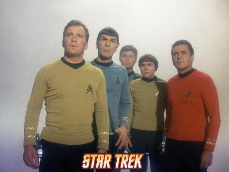 Star Trek: The Original Series, Captain Kirk, Mr. Spock, Dr. McCoy, Chekov and Scotty Stretched Canvas Print