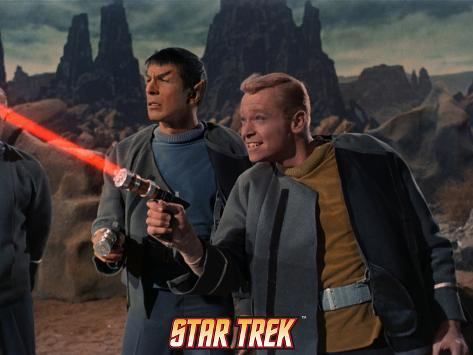 Star Trek: The Original Series, Mr. Spock and Starfleet Member Firing Phaser Stretched Canvas Print