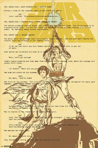 Star Wars- Luke & Leia On Script Poster
