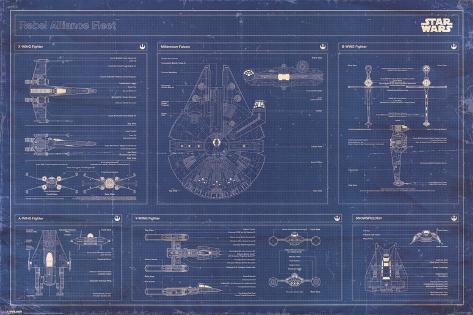 Star Wars - Rebel Alliance Fleet blueprint Poster