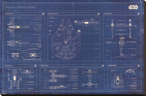 Star Wars - Rebel Alliance Fleet blueprint Stretched Canvas Print