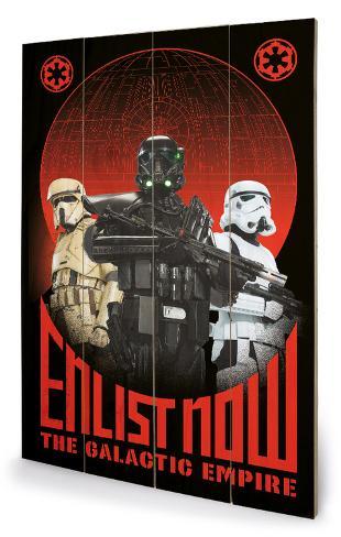 Star Wars Rogue One - Enlist Now Cartel de madera