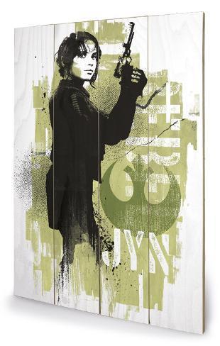 Star Wars Rogue One - Jyn Grunge Cartel de madera