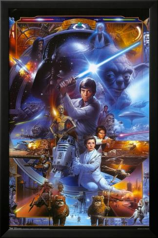 Star Wars - Saga Collage Lamina Framed Poster