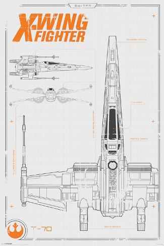 Star Wars The Force Awakens- X Wing Plans Poster
