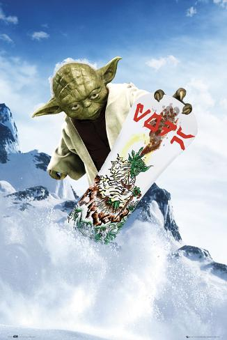 Star Wars-Yoda Snowboarding Poster