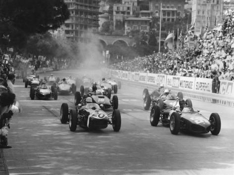 Start of 1961 Monaco Grand Prix, Stirling Moss in Car 20, Lotus 18 Who Won the Race Photographic Print