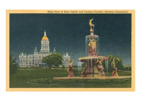 State Capitol, Corning Fountain, Hartford, Connecticut Stretched Canvas Print