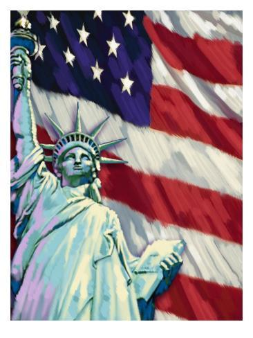 Statue of Liberty and American Flag Art Print