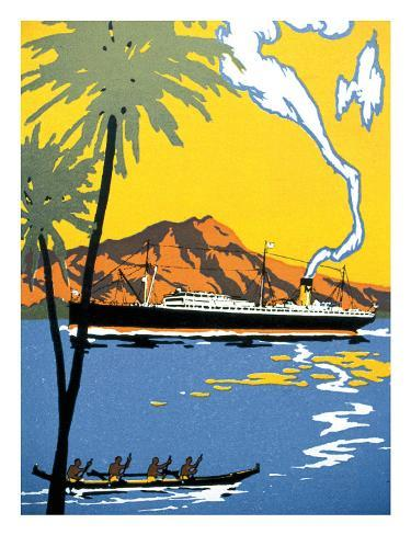 Steamship and Hawaiian Outrigger Canoe, c.1930 Giclee Print