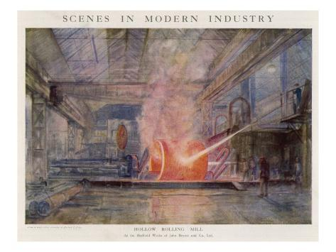Steelworks of John Brown and Co., Sheffield: the Hollow Rolling Mill Giclee Print