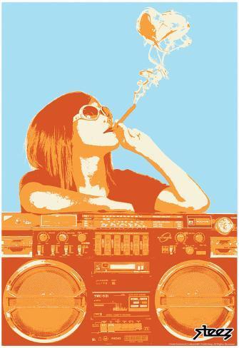 Steez Boom Box Joint - Orange Art Poster Print Poster