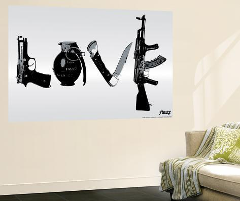Love (Weapons) Black U0026 White Wall Mural Part 44