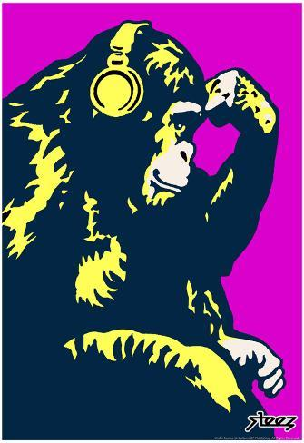 Steez Monkey Thinker - Purple Art Poster Print Poster