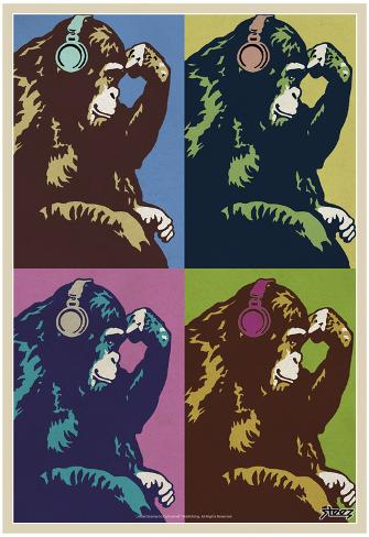 Steez Monkey Thinker Quad Pop-Art Poster