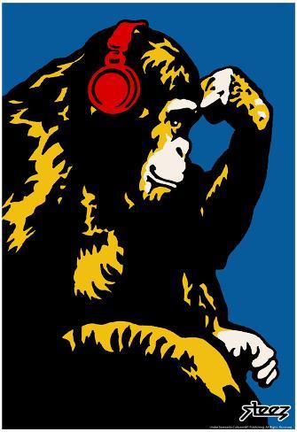 Steez Monkey Thinker - Red Headphones Art Poster Print Poster