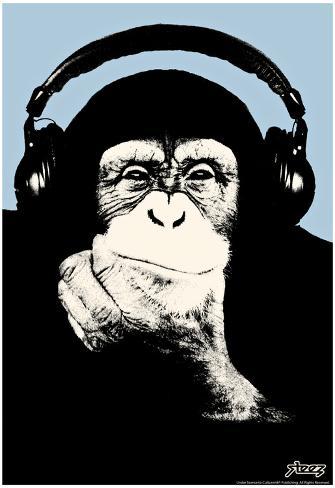 Steez Headphone Chimp - Blue Art Poster Print Pôster