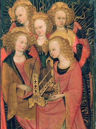 Angel Musicians (Oil on Panel) Lámina giclée