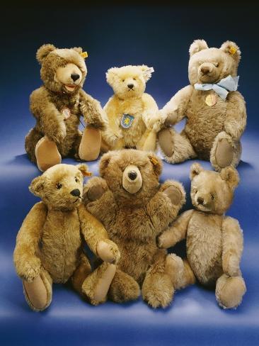 A Collection of Steiff Teddy Bears Giclee Print