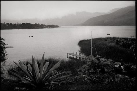 Boats in a Mountain Lake in Early Morning Photographic Print