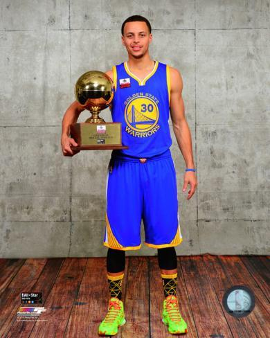 Stephen Curry With The 3 Point Contest Trophy 2015 NBA All Star Game