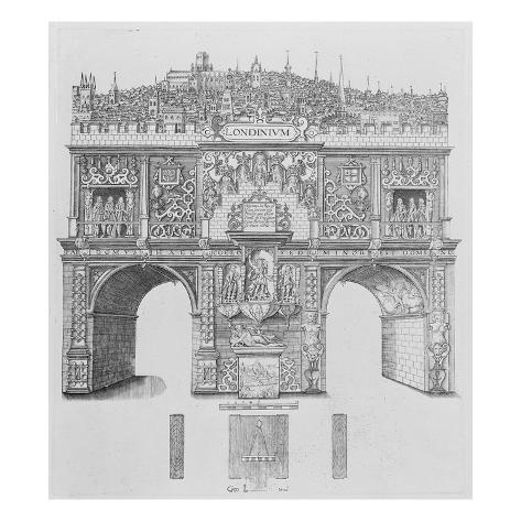 A Triumphal Arch, Engraved by William Kip, 1604 (Engraving) Stretched Canvas Print