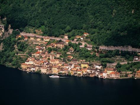 Aerial View of Village on Shores of Lake Lugano, Gandria, Ticino, Switzerland Photographic Print