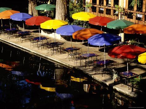 Early Morning Bright Riverwalk Eateries Await Customers Photographic Print