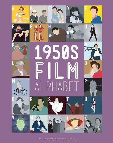 1950s Film Alphabet - A to Z Art Print