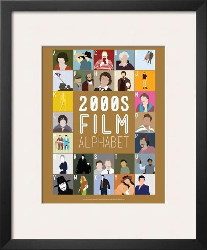 Alfabeto do Cinema de A a Z, anos 2000 Impressão artística emoldurada