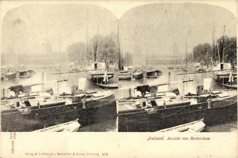 Stereo Rotterdam Südholland, Hafenpartie, Boote Koeln Giclee Print
