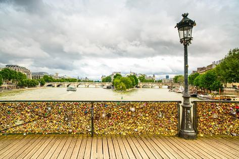 Love Padlocks on Pont Des Arts Bridge, Seine River in Paris, France. Photographic Print