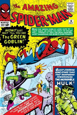 Amazing Spider-Man No.14 Cover: Spider-Man, Green Goblin and Hulk Poster