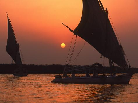 Felucca on Nile at Sunset, Cairo, Egypt Photographic Print