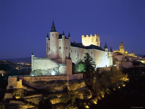 Alcazar, Night View, Segovia, Castilla Y Leon, Spain Photographic Print