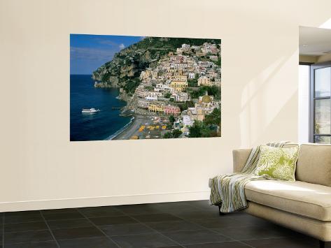 Amalfi Coast, Coastal View and Village, Positano, Campania, Italy Wall Mural