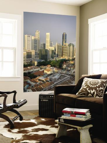 City Skyline and Chinatown Rooftops, Singapore Wall Mural