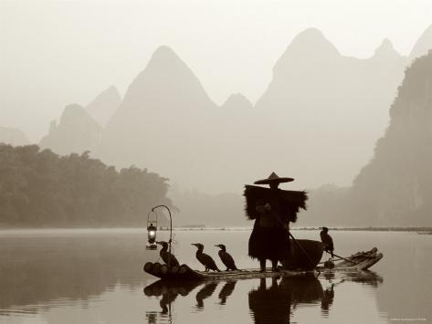 Cormorant Fishermen, Li River, Yangshou, Guilin, Guangxi Province, China Photographic Print