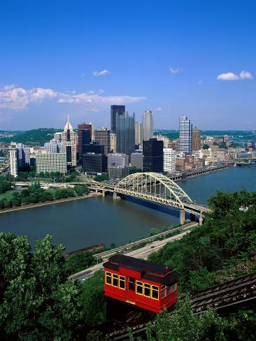 Duquesne Incline Cable Car and Ohio River, Pittsburgh, Pennsylvania, USA Photographic Print