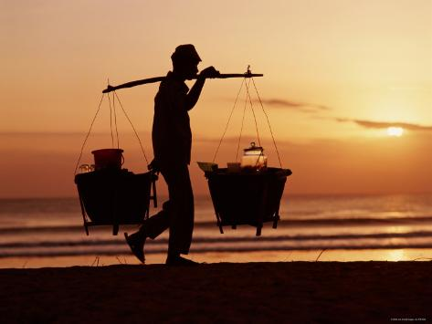 Kuta Beach, Local Vendor, Sunset, Bali, Indonesia Photographic Print
