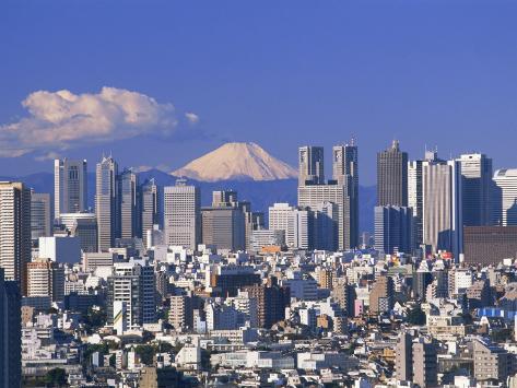 Mt.Fuji and Tokyo Shinjuku Area Skyline, Tokyo, Japan Photographic Print