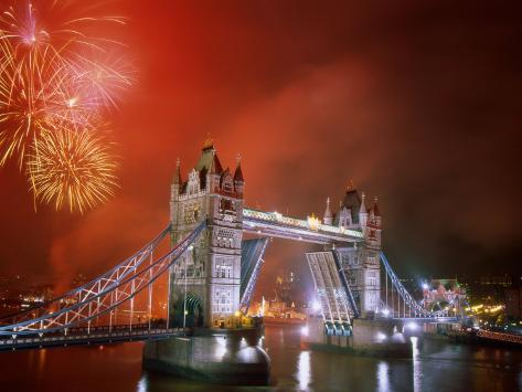 Tower Bridge and Fireworks, London, England Photographic Print