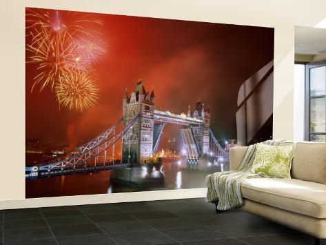 Tower Bridge and Fireworks, London, England Wall Mural – Large