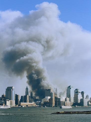 Smoke Billows over Manhattan after the September 11, 2001 Attack Photographic Print