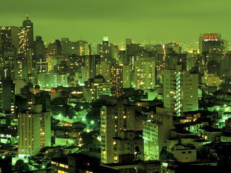 Evening View of Sao Paulo, Brazil Photographic Print