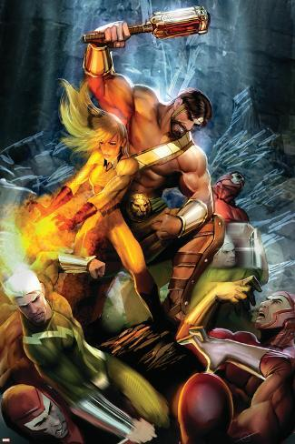 Realm of Kings Inhumans No.2 Cover: Crystal, Hercules and Quicksilver Poster